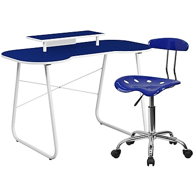 Flash Furniture Standard Computer/Writing Desk with Monitor Stand and Task Chair, Navy (NAN3LF)