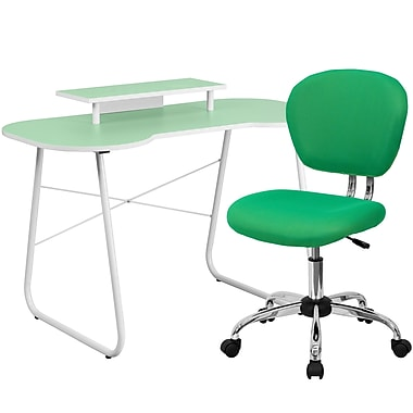 Flash Furniture Standard Computer/Writing Desk with Monitor Stand and Task Chair, Green (NAN4)