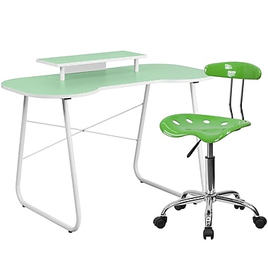 Flash Furniture Standard Computer/Writing Desk with Monitor Stand and Task Chair, Green (NAN4LF)