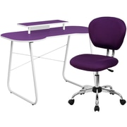Flash Furniture Standard Computer/Writing Desk with Monitor Stand and Task Chair, Purple (NAN5)