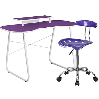 Flash Furniture Standard Computer/Writing Desk with Monitor Stand and Task Chair, Purple (NAN5LF)