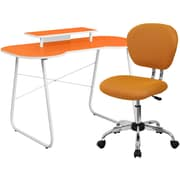 Flash Furniture Standard Computer/Writing Desk with Monitor Stand and Task Chair, Orange (NAN6)