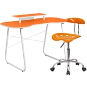 Flash Furniture Standard Computer/Writing Desk with Monitor Stand and Task Chair, Orange (NAN6LF)
