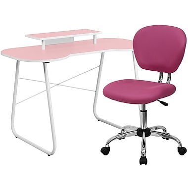 Flash Furniture Standard Computer/Writing Desk with Monitor Stand and Task Chair, Pink (NAN7)