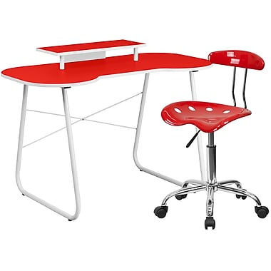 Flash Furniture Standard Computer/Writing Desk with Monitor Stand and Task Chair, Red (NAN8LF)