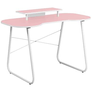 Flash Furniture Standard 47.25'' Rectangular Laminate Contemporary Computer Desk, Pink/White (NANJN2360MTPK)