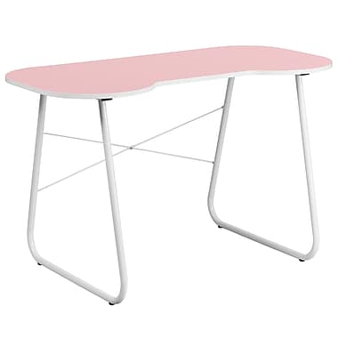 Flash Furniture Standard 47.25'' Rectangular Laminate Contemporary Computer Desk, Pink/White (NANJN2360PK)