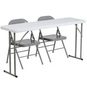 "Flash Furniture 60"" Plastic Folding Training Table with 2 Gray Metal Folding Chairs, Granite White (RB18601)"