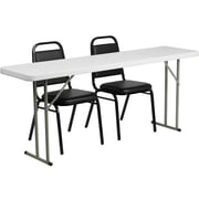 "Flash Furniture 72"" Folding Training Table with 2 Trapezoidal Back Stack Chairs, Granite White (RB18722)"