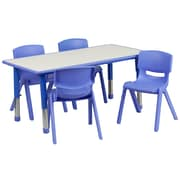 Flash Furniture YU06034RECTBLBL 23.63 x 47.25'' Plastic Rectangle Activity Table, Blue