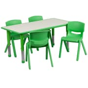 "Flash Furniture YU06034RECTBLGN 23.63"" x 47.25'' Plastic Rectangle Activity Table, Green"