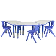 Flash Furniture YU09133TRPTBLBL 21 x 37.75 Plastic Trapezoid Activity Table Set, Blue