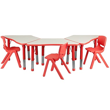 Flash Furniture YU09133TRPTBLRD 37.75'' x 21'' Plastic Trapezoid Activity Table Set, Red
