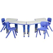 Flash Furniture YU09134TRPTBLBL 21 x 37.75 Plastic Trapezoid Activity Table Set, Blue