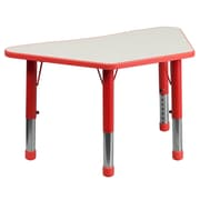 """Flash Furniture YU091TRPTBLRD 21"""" x 37.75"""" Plastic Trapezoid Activity Table, Red"""