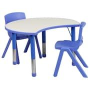 "Flash Furniture YU09332CIRTBLBL 25.13"" x 35.5"" Plastic Semi-Circle Activity Table, Blue"