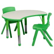 "Flash Furniture YU09332CIRTBLGN 25.13"" x 35.5"" Plastic Semi-Circle Activity Table, Green"