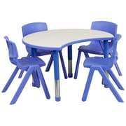 Flash Furniture YU09334CIRTBLBL 25.13 x 35.5 Plastic Semi-Circle Activity Table, Blue