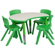 "Flash Furniture YU09334CIRTBLGN 25.13"" x 35.5"" Plastic Semi-Circle Activity Table, Green"