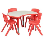 "Flash Furniture YU09334CIRTBLRD 25.13"" x 35.5"" Plastic Semi-Circle Activity Table, Red"