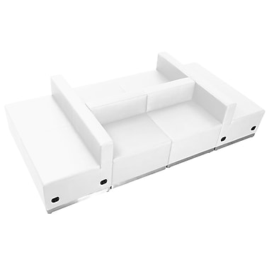 Flash Furniture Alon Series ZB803650SWH LeatherSoft Reception Set, 6 PC, White