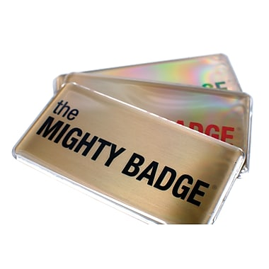 The Mighty Badge 901716 Name Tag Starter Kit for Laser Printer, Gold, 10/Pack