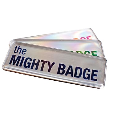 The Mighty Badge 901805 Name Tag Refill Kit for Laser Printer, Silver, 10/Pack