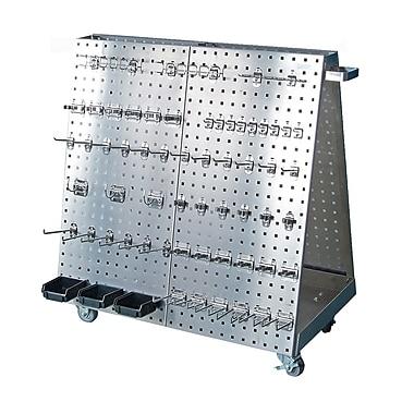 LocBoard LBC-18SH SS LocBoard Cart 60 Hks 3 Bins, Silver