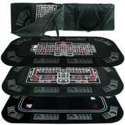 Trademark Superior 3 In 1 Poker/Craps/Roulette Tri-Fold Tabletop, Black