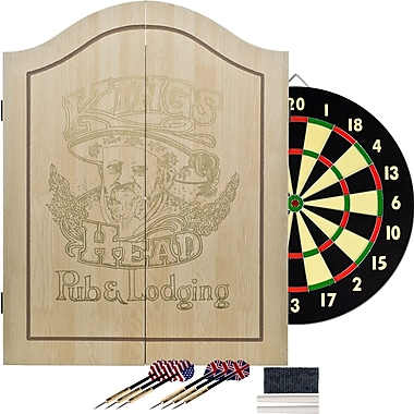 Trademark Light Wood Dartboard Cabinet Set, King's Head Value