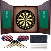 Dartboard Cabinet Set, Realistic Walnut Finish