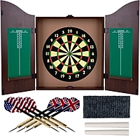 Trademark Realistic Walnut Finish Dartboard Cabinet Set (Brown)