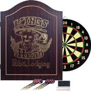 Trademark Dark Wood Dartboard Cabinet Set, King's Head Value