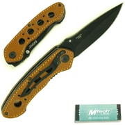 Trademark Whetstone™ 8 Folding Pocket Knife With Leather Handle