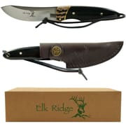"Trademark 7 1/4"" Elk Ridge Stainless Steel Hunting Knife With Sheath, Black"