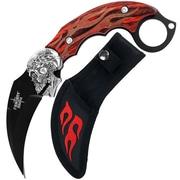 Trademark Whetstone™ 7 1/2 Fire Skull Karambit Stainless Steel Knife With Sheath