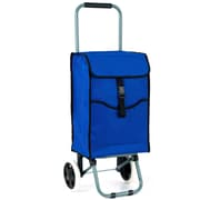 Trademark 3-Compartment Eco-Friendly Portable Canvas Shopping Cart, Blue