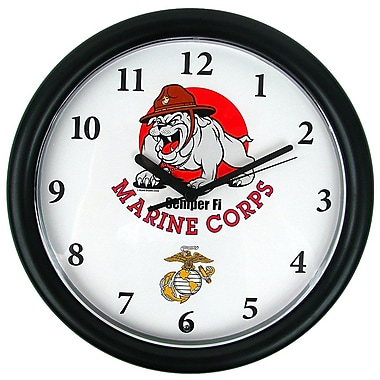 Trademark 9.75 Deluxe Chiming US Marines Clock, Bull Dog Mascot