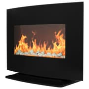 Warm House Curved Glass Electric Fireplace Heater, Black