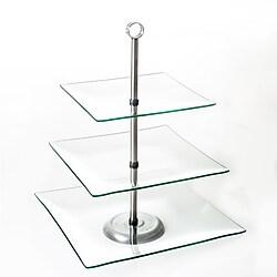 Chef Buddy 3-Tier Square Glass Buffet & Dessert Stand