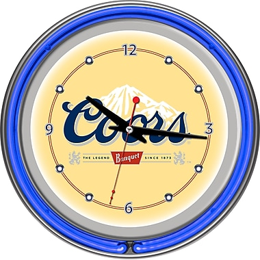 Trademark Global CO1400 Analog Coors Banquet Neon Wall Clock, Blue