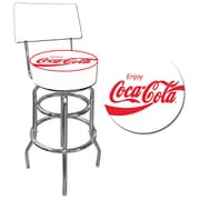 "Trademark 40"" Padded Swivel Bar Stool With Back, Enjoy Coke"