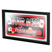 "Trademark 15"" x 26"" x 3/4"" Wooden Framed Mirror, Four Aces Poker Room"
