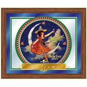 "Trademark Miller High Life 16"" x 19"" x 3/4"" Wooden Framed Mirror, Girl in the Moon"
