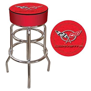 Trademark 30'' Novelty Swiveling Base Padded Bar Stool, Gray/Red (844296020065)