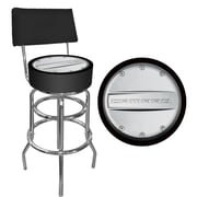 "Trademark 40"" Padded Swivel Bar Stool With Back, Camaro, Black/Silver"