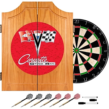 Trademark Wood Dart Cabinet Set, Corvette C2 Red