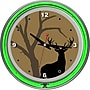 Trademark 14 Double Ring Neon Clock, Hunt Deer