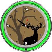 """Trademark 14"""" Double Ring Neon Clock, Hunt Deer"""