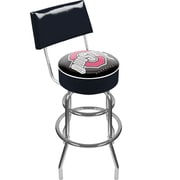"Trademark 41 3/4"" NCAA Padded Swivel Bar Stool With Back, The Ohio State University, Black"